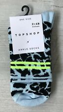 Ladies/Girls Blue Animal Print With Neon Green Stripes Cotton Ankle Socks