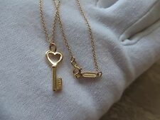 Tiffany & Co. 18k Rose Gold 20mm Tiffany Keys  Heart Key Pendant Necklace.  Mini