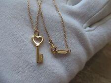 Tiffany & Co. 18k Rose Gold 20mm Tiffany Keys  Heart Key Pendant Necklace.  Mini