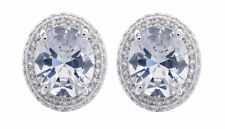 Cubic Zirconia Oval Clip - On Costume Earrings