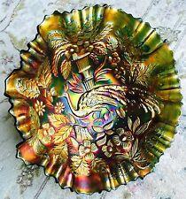 "Beautiful Antique 9""/23cm Wide ""Fenton"" Peacock Pattern Carnival Glass Bowl"