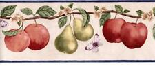 Primitive Country Hanging Fruit Floral Butterfly Apples Kitchen Wallpaper Border