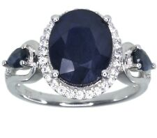 Diffusion Sapphire Gemstone Oval Sterling Silver Ring size O