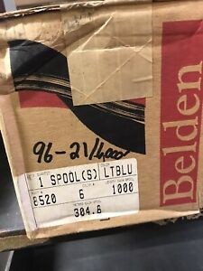 1000' Belden 8520 006 14 AWG Lt Blue Commercial PVC Hook-UP Wire NEW