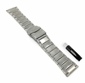 Bandini Stainless Steel Watch Strap, Mens Metal Watch Band Silver 26mm
