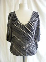 Ladies Top - Wallis, size 14, black/white, graphic stripe, batwing, party 1533