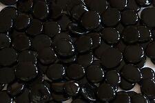 120 Pcs Large Black Onyx Colored Glass Gems, Pebbles, Mosaic Tiles, Nuggets