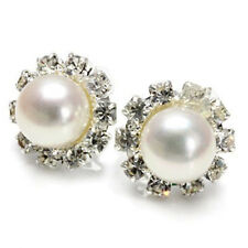 Gold Plated Crystal Stud Earrings 8mm Genuine Natural White Pearl White