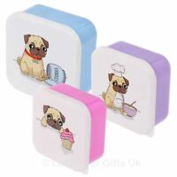 Set of 3 Pug Design Plastic Lunch Boxes Childs Kids Pets School Fun Storage Box