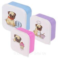 Lot de 3 Carlin Design Plastique Déjeuner Boîtes Childs Kids Pets School Fun Boîte de rangement