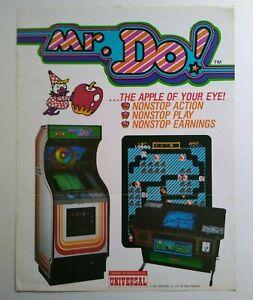 Mr Do Arcade FLYER Original Video Game Artwork Sheet Universal 1982 Retro Gaming