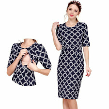 Breastfeeding Nursing Dress Casual Maternity Clothes Short Sleeves Pregnancy Fit