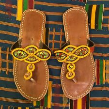 African beaded hand made leather slippers,flip flop-size 40