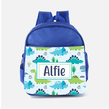 Personalised Blue Dino Dinosaurs Scene Boys Kids Backpack, Childrens School Bag