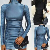 Women Hugcitar Satin Long Sleeve High Neck High Waist Bodycon Sexy Mini Dress Ni