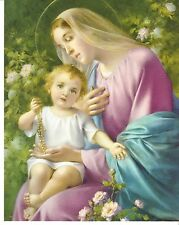 """Catholic Print Picture OUR LADY of the ROSARY Virgin Mary w/ Child Jesus 8x10"""""""