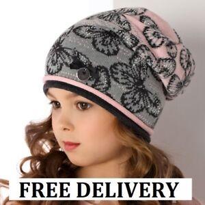 BEANIE girls knitted hat KIDS 2-5 years CHILDREN CAP Butterfly NEW