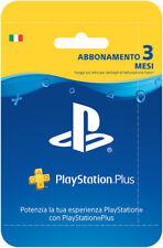 Sony PSN Playstation Plus Network Hanging Card Abbonamento 3 Mesi