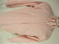 J Peterman Mens Red Butcher Stripe Long Sleeve Cotton Shirt M