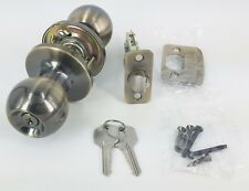 keyed alike entry door knob lock antique brass tubular door lockset new