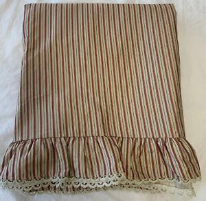 RALPH LAUREN GROSVENOR SQUARE Red Tan STRIPED Queen Flat Sheet Ruffle Lace Trim