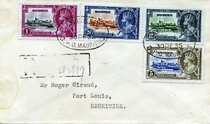 1935 Silver Jubilee Mauritius set on a local registered cover