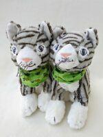 Ikea Lillen Grey Tabby Cat Kitten x2 Soft Toy Plush Cuddly Teddy