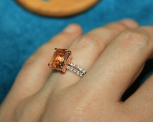topaz Cz ring gemstone silver jewelry 7.5 8.25 elegant cocktail engagement band