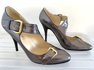 RUSSELL & BROMLEY Pewter Leather Heels Pumps Size 38 (7) #18848