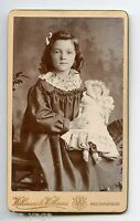 Victorian Girl with Doll & Pearl Beads Necklace, Vintage CDV Photo, Cardiff, UK