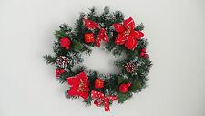 Christmas Door Wreath Red Bow Poinsettia 40cm Festive Decoration