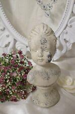 Büste  Figur Skulptur  Shabby-Style Stein Creme Grau Garten Deko 19cm Valo