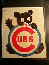Chicago Cubs Vintage MLB Baseball Sticker, Barron Decal Co 1950s-60s Mascot