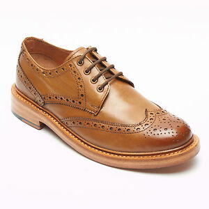 Mens Black & Tan Leather Goodyear Welted Brogues Shoes