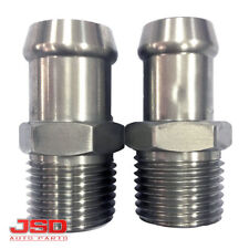 """1008 Stainless Steel Heater Hose Fittings 1/2"""" NPT to 5/8"""" & 3/4"""" Barbs Set of 2"""