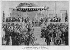 Sisi, Sissi, Kaiserin, Eröffnungsfeier Ausstellung Steyr Original-Holzstich 1884