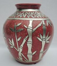 """Antique/Vintage 11"""" Bamboo Pewter Overlay Red Studio Art Pottery Planter #4815"""