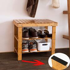 SoBuy® 50cm Schuhregal,Sitzbank,Schuhbank,Hocker aus Bambus FSR02-K-N