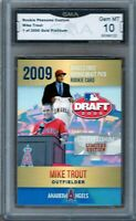 GMA 10 Gem Mint MIKE TROUT 2009 ACEO ROOKIE Card California Angels ROOKIE Card!