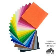 Felt Fabric 1mm x20, DIY Kids Craft Paper Supplies 20x15cm Assorted Colours