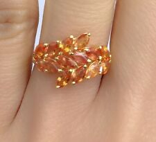 14k Solid Yellow Gold Cute Cluster Ring Natural Orange Sapphire 2.50TCW, Sz 7