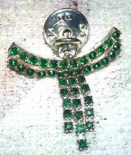 pretty christmas green & clear rhinestone silver tone angel pin