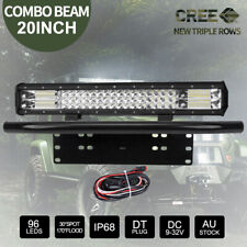 "20"" 248000LM CREE LED Light Bar & 23"" Black Number Plate Frame & Wiring Kit"