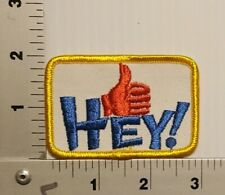 1970's / 1980's HEY! THUMBS UP NOVELTY FUN VINTAGE EMBROIDERED PATCH (red thumb)