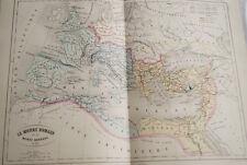 CARTE ANCIENNE COULEURS LE MONDE ROMAIN & BARBARE 1865 ATLAS BOUILLET R646