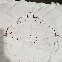 "Vintage  Set of 2 White Lace trim Decorative Collectibles Pillowcases 18"" x 18"""