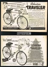 2x 1953 SCHWINN Traveller 3-speed Bike Bicycle For Christmas VTG PRINT AD