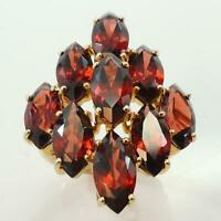 9.5ct Garnet Womens Cluster Ring - Solid 9ct Gold