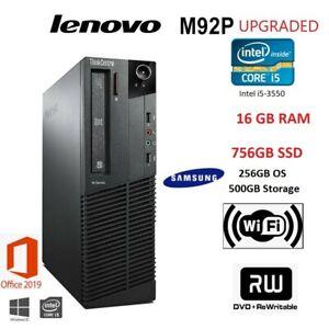 Lenovo ThinkCentre M92p Desktop PC i5-3550 3.30GHz 16GB DDR3 756GB SSD Win10