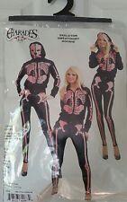 Adult Black & Pink Skull Skeleton Zip-up Hoodie Sweatshirt Womens S in package!